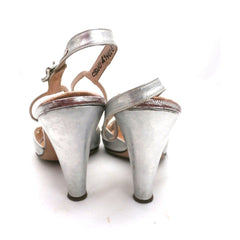 Vintage 1950s Womens Delman Shoes SIlver Leather Evening Sandals 7 N - The Best Vintage Clothing  - 4