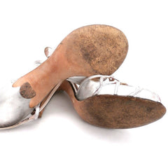Vintage 1950s Womens Delman Shoes SIlver Leather Evening Sandals 7 N - The Best Vintage Clothing  - 2