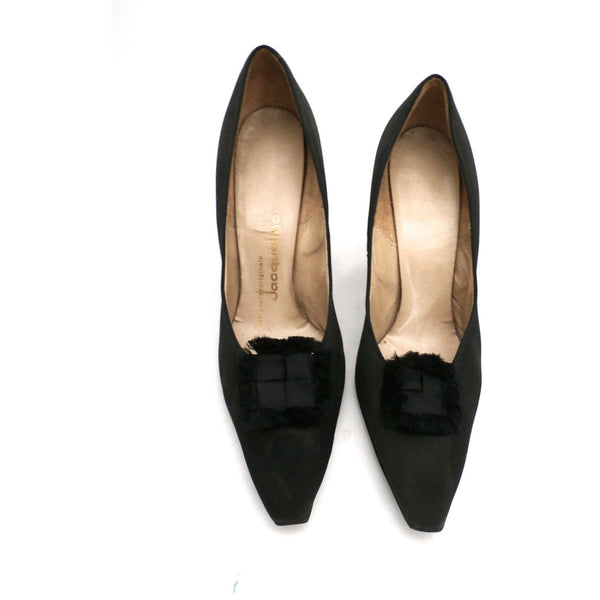 "Vintage Black Peau De Soie SIlk  Pumps 3.5 "" Stiletto Heels 1950S Womens Sz 7 - The Best Vintage Clothing  - 1"