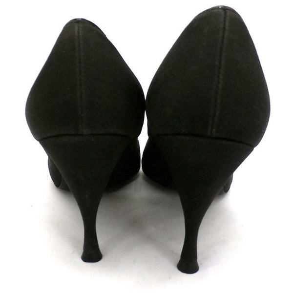"Vintage Black Peau De Soie SIlk  Pumps 3.5 "" Stiletto Heels 1950S Womens Sz 7 - The Best Vintage Clothing  - 2"