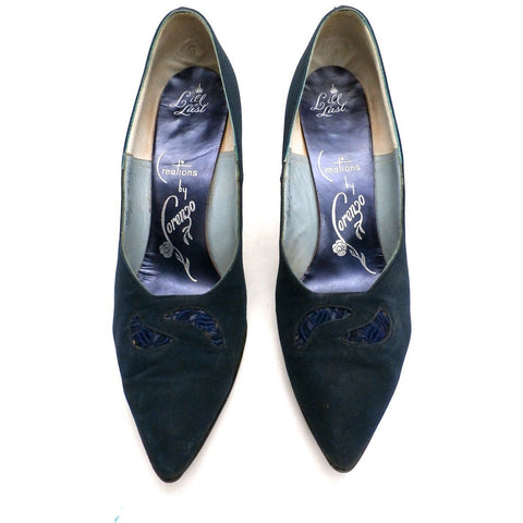 Vintage Midnight Blue Silk Pumps Lorenzo 1950S 7.5N