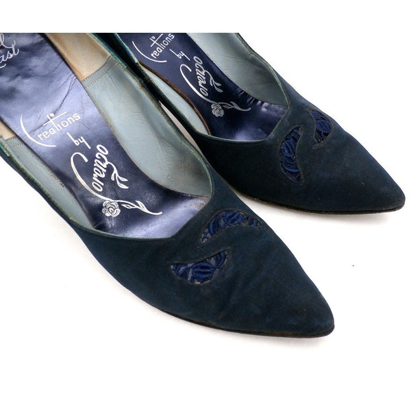 Vintage Midnight Blue Silk Pumps Lorenzo 1950S 7.5N - The Best Vintage Clothing  - 7