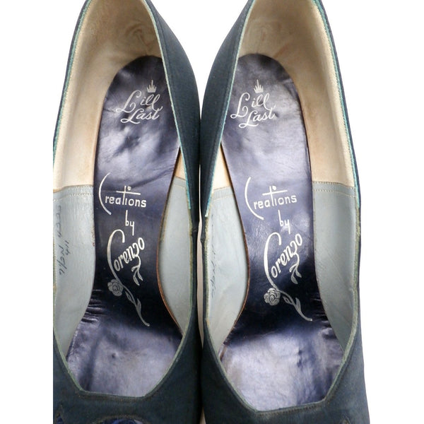 Vintage Midnight Blue Silk Pumps Lorenzo 1950S 7.5N - The Best Vintage Clothing  - 8