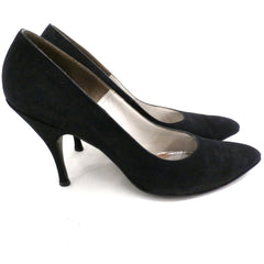 Vintage Womens Shoes Black Suede Stiletto Heels Lorenzo 7.5 - The Best Vintage Clothing  - 3