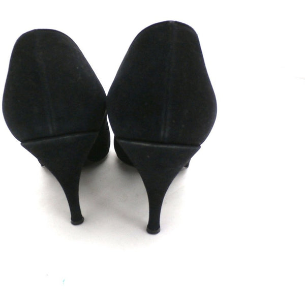 Vintage Womens Shoes Black Suede Stiletto Heels Lorenzo 7.5 - The Best Vintage Clothing  - 2