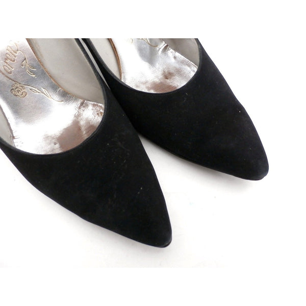 Vintage Womens Shoes Black Suede Stiletto Heels Lorenzo 7.5 - The Best Vintage Clothing  - 5