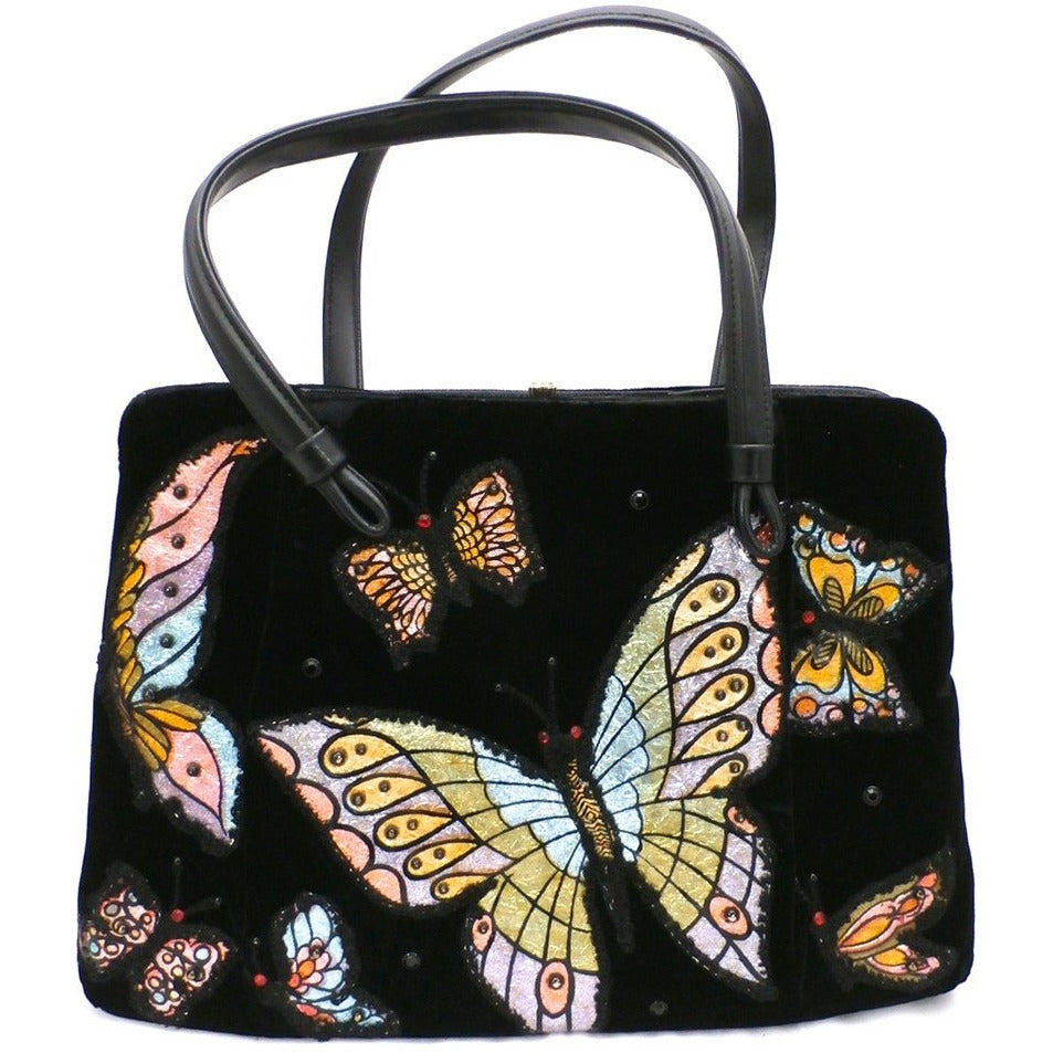 Fab Vintage Black Velvet Butterfly Appliqued Purse 1950'S - The Best Vintage Clothing  - 1