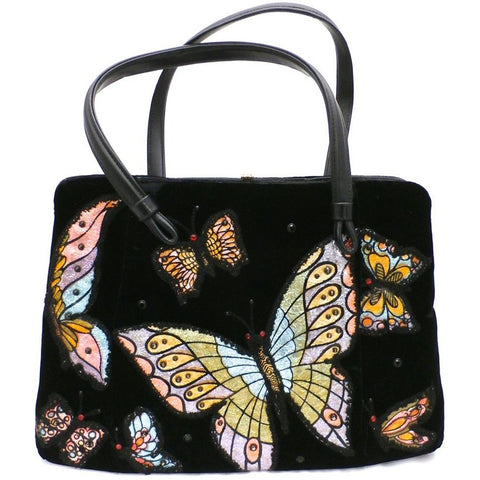 Fab Vintage Black Velvet Butterfly Appliqued Purse 1950'S