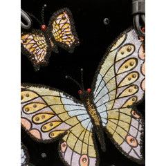Fab Vintage Black Velvet Butterfly Appliqued Purse 1950'S - The Best Vintage Clothing  - 4