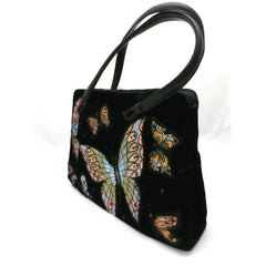 Fab Vintage Black Velvet Butterfly Appliqued Purse 1950'S - The Best Vintage Clothing  - 3