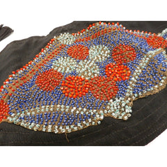 Vintage Art Deco Beaded Belt Red Aqua Blue Green On Black 1920s - The Best Vintage Clothing  - 3
