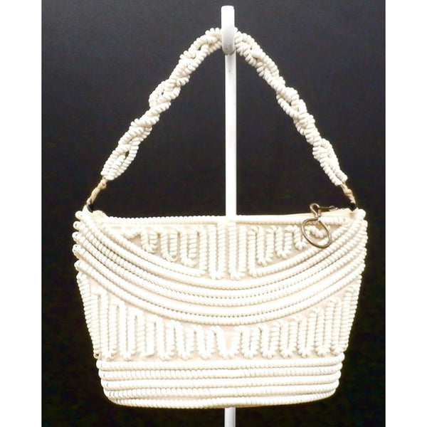 Vintage Handbag Creamy White Telephone Cord Purse White 1940s - The Best Vintage Clothing  - 2
