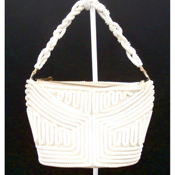 Vintage Handbag Creamy White Telephone Cord Purse White 1940s - The Best Vintage Clothing  - 3