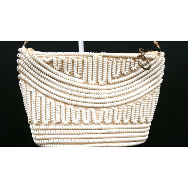 Vintage Handbag Creamy White Telephone Cord Purse White 1940s - The Best Vintage Clothing  - 4