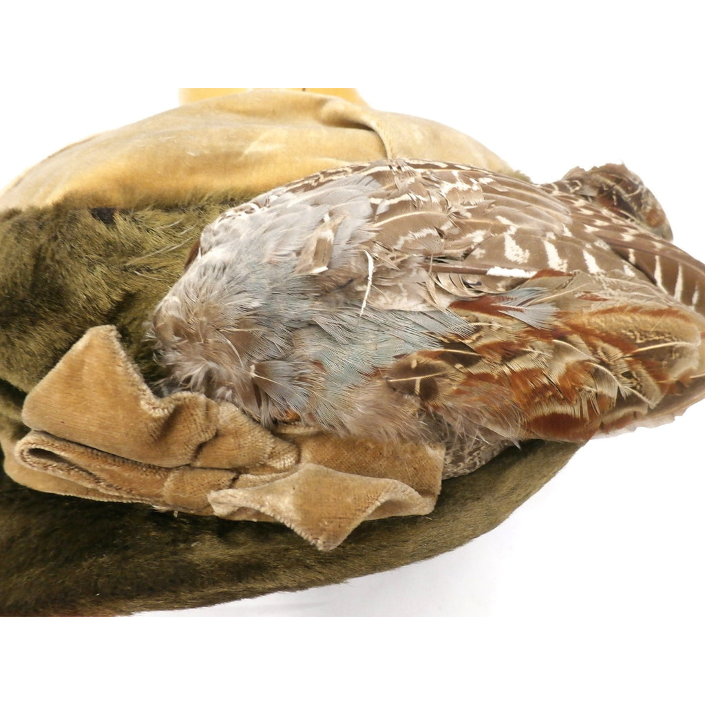 36062bc84a67b ... Antique Hat Edwardian Ladies Toque Mohair Birdwings Feathers Floral  Applique Large - The Best Vintage Clothing