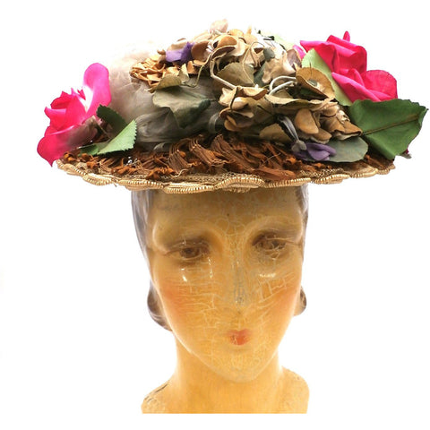 Lovely Antique Hat 1870s Womens Straw Brimmed Hat With Flowers