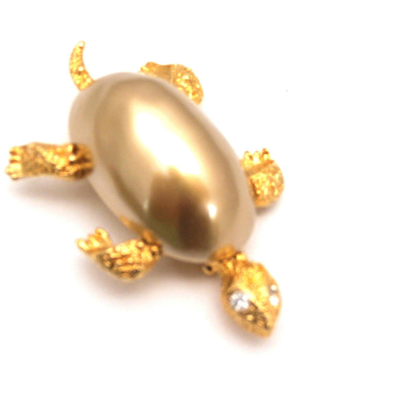 Adorable Marvella Signed Turtle Brooch 1950s Goldtone Large Baroque Body - The Best Vintage Clothing  - 2