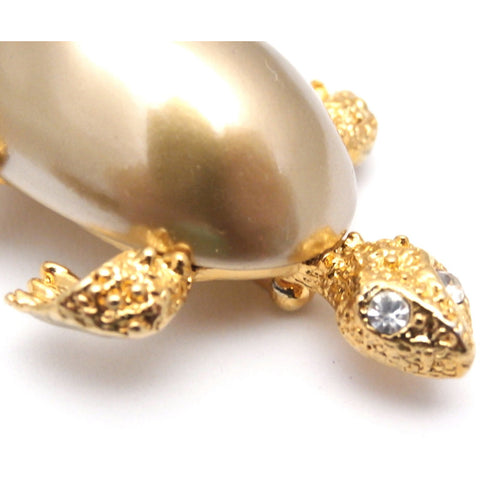Adorable Marvella Signed Turtle Brooch 1950s Goldtone Large Baroque Body
