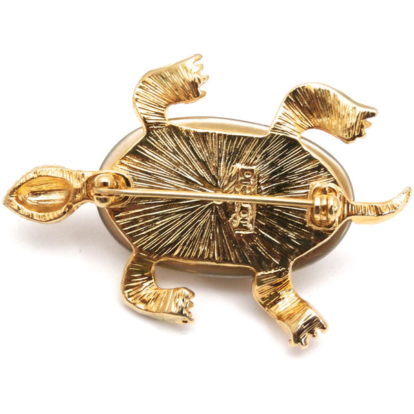 Adorable Marvella Signed Turtle Brooch 1950s Goldtone Large Baroque Body - The Best Vintage Clothing  - 3