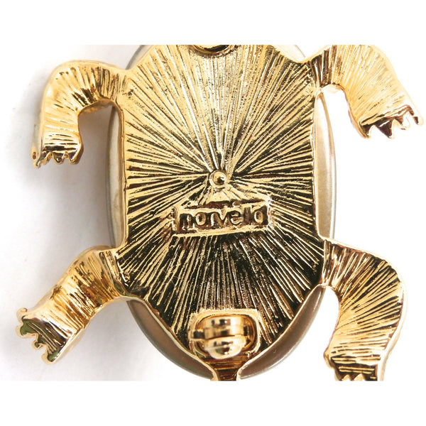 Adorable Marvella Signed Turtle Brooch 1950s Goldtone Large Baroque Body - The Best Vintage Clothing  - 4