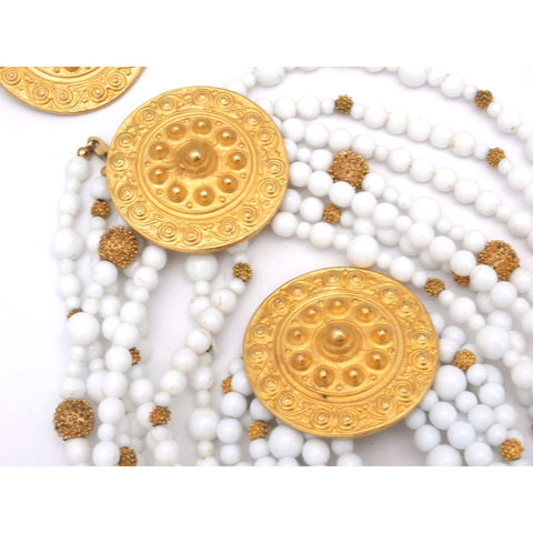Gorgeous Vintage Les Bernard Signed Jewelry Parure 4 Pc White Beads & Huge Gold Discs Statement
