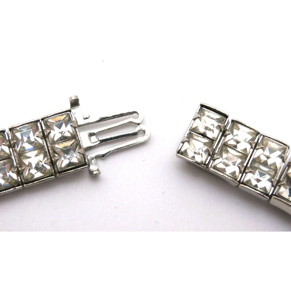"Vintage Crystal Choker Square Channel Set Stones Double Row 14"" 1940s - The Best Vintage Clothing  - 2"