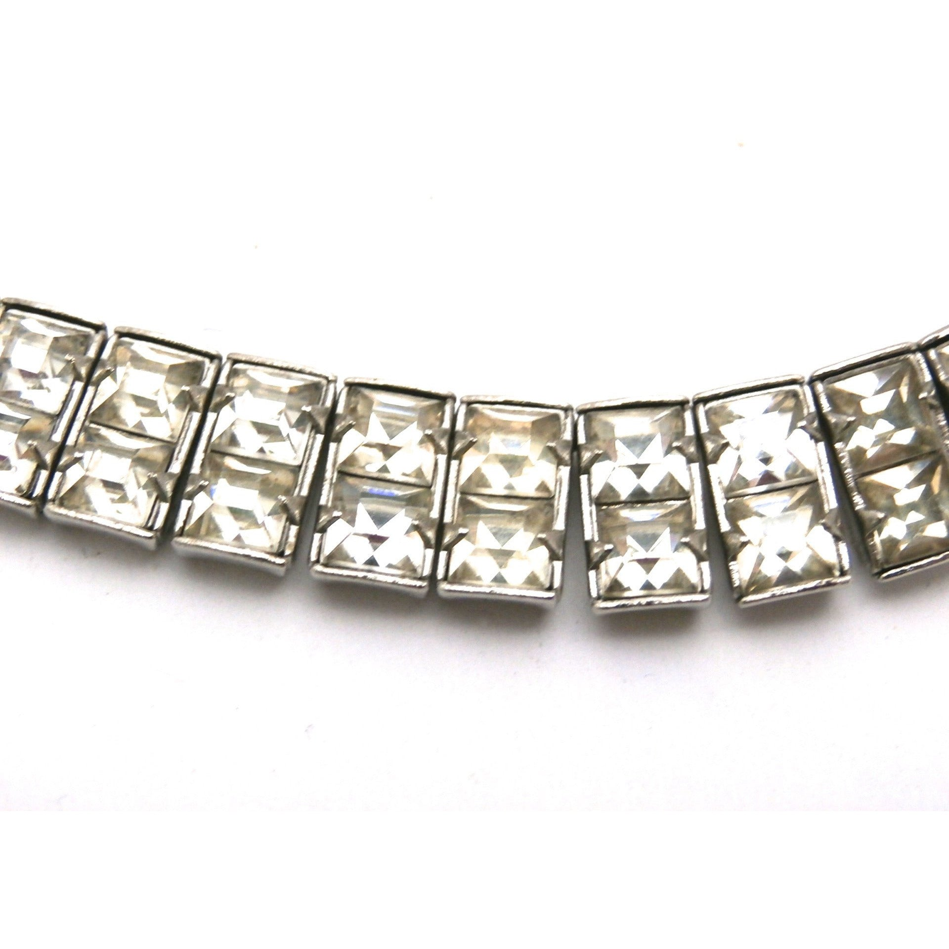 "Vintage Crystal Choker Square Channel Set Stones Double Row 14"" 1940s - The Best Vintage Clothing  - 1"
