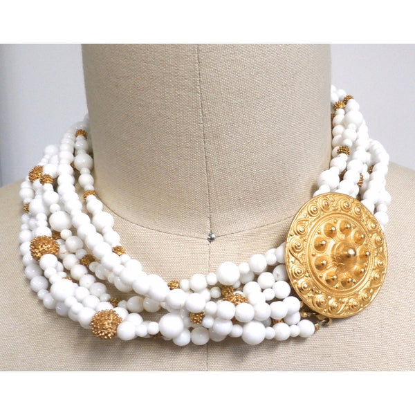 Gorgeous Vintage Les Bernard Signed Jewelry Parure 4 Pc White Beads & Huge Gold Discs Statement - The Best Vintage Clothing  - 5