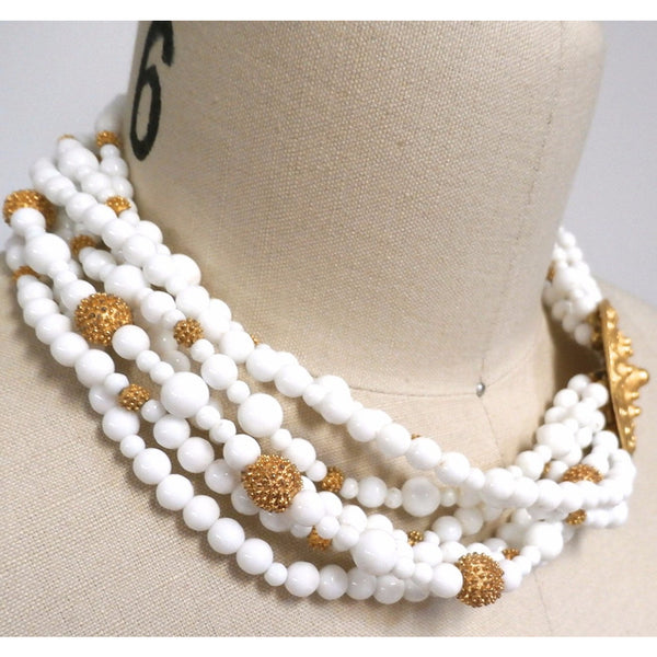 Gorgeous Vintage Les Bernard Signed Jewelry Parure 4 Pc White Beads & Huge Gold Discs Statement - The Best Vintage Clothing  - 4