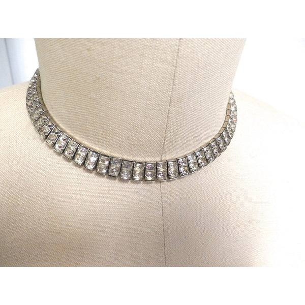 "Vintage Crystal Choker Square Channel Set Stones Double Row 14"" 1940s - The Best Vintage Clothing  - 4"