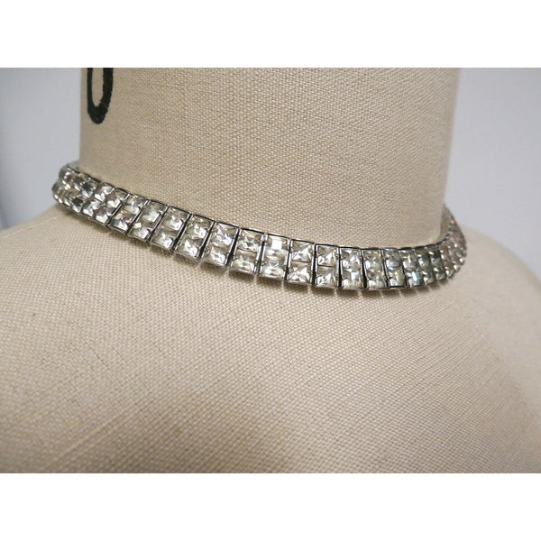 "Vintage Crystal Choker Square Channel Set Stones Double Row 14"" 1940s - The Best Vintage Clothing  - 5"