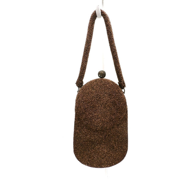 Vintage Beaded Bag Unusual Shape Copper Beads Custom Calem 1940s - The Best Vintage Clothing  - 2