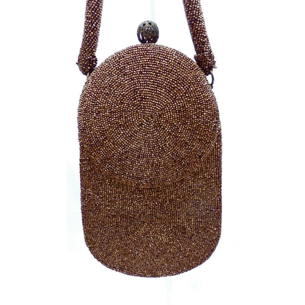 Vintage Beaded Bag Unusual Shape Copper Beads Custom Calem 1940s - The Best Vintage Clothing  - 6
