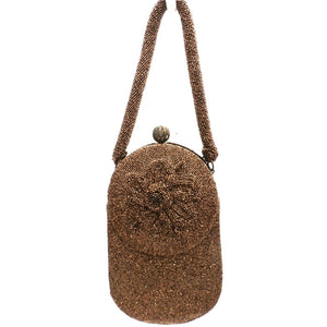 Vintage Beaded Bag Unusual Shape Copper Beads Custom Calem 1940s - The Best Vintage Clothing  - 1