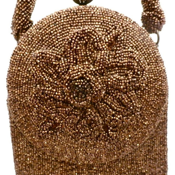 Vintage Beaded Bag Unusual Shape Copper Beads Custom Calem 1940s - The Best Vintage Clothing  - 4
