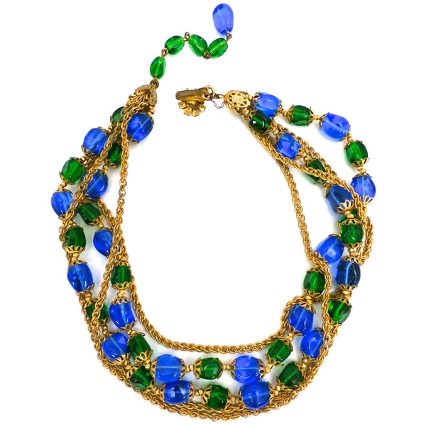 Stunning Vintage Hattie Carnegie Necklace Electric Blue & Green Baroque Beads Gold Findings 1950s - The Best Vintage Clothing  - 4