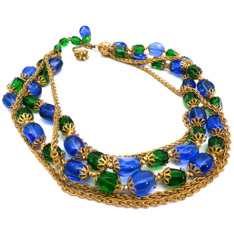 Stunning Vintage Hattie Carnegie Necklace Electric Blue & Green Baroque Beads Gold Findings 1950s