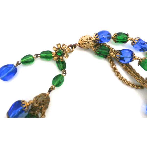 Stunning Vintage Hattie Carnegie Necklace Electric Blue & Green Baroque Beads Gold Findings 1950s - The Best Vintage Clothing  - 3