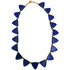 "Pretty Vintage Antique Art Deco Blue Glass Triangles Necklace 1920s 16"" - The Best Vintage Clothing  - 1"