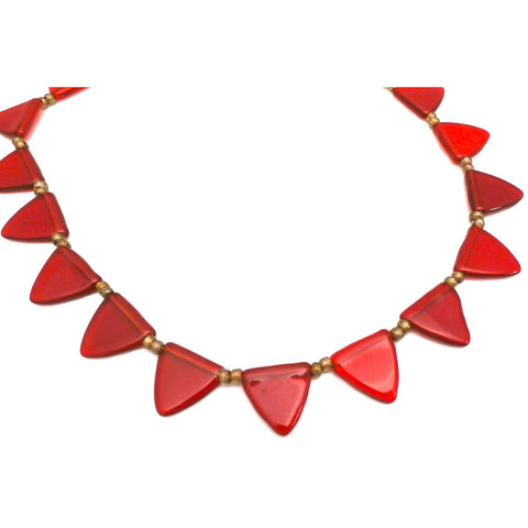 Pretty Vintage Antique Art Deco Red Glass Triangles Necklace 1920s 16""