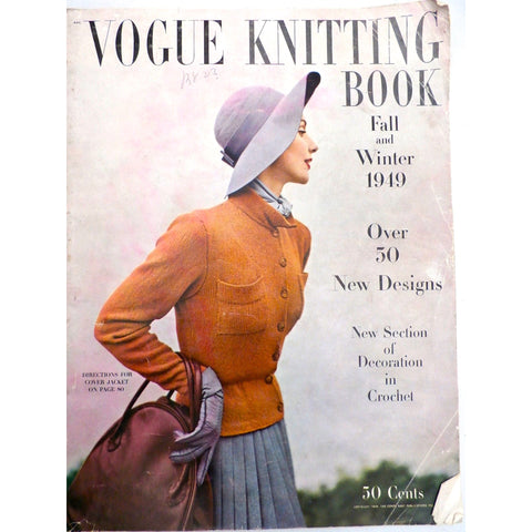 Vintage Magazine Vogue Knitting Book, Fall and Winter 1949 50 + designs How To