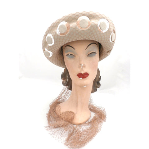 Vintage Schiaparelli Hat Turned Up Brim Open Work Late 1950s Floating Discs