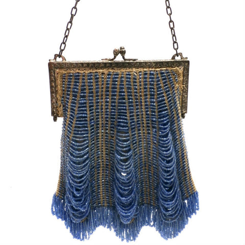 Vintage Glass  Beaded Handbag 1920s Art Deco Cornflower Blue