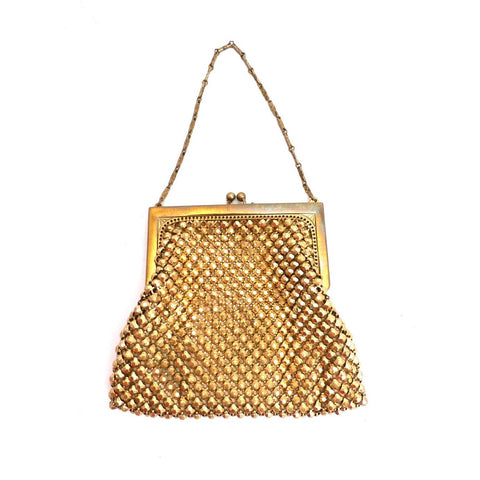 Vintage 1920s Purse Handbag Art Deco Whiting Davis Gold Beads