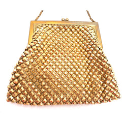 Vintage 1920s Purse Handbag Art Deco Whiting Davis Gold Beads - The Best Vintage Clothing  - 4