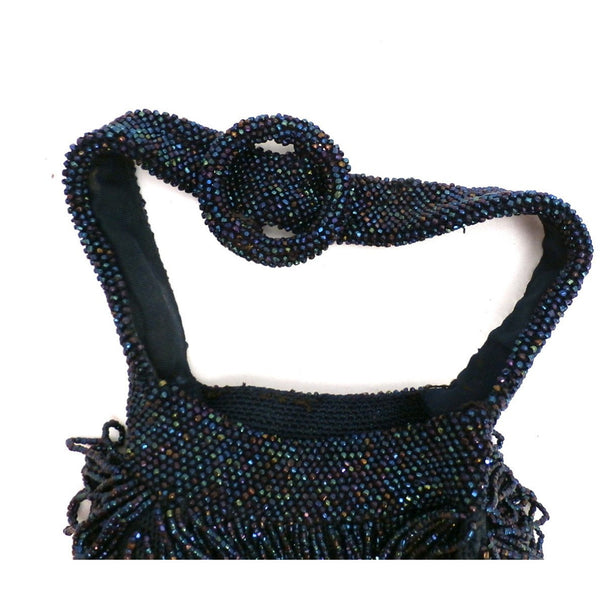 Vintage 1940s Carnival Glass Purse Midnight Blue Large Pouch Style - The Best Vintage Clothing  - 2