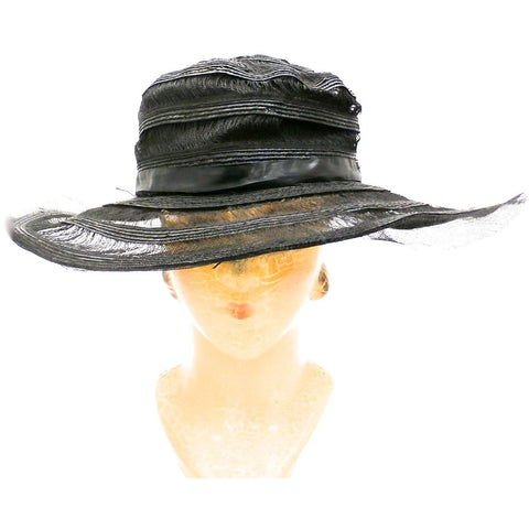572b6b85ed49e Antique Hat Vintage Wide Brimmed Summer Victorian Black Horsehair Straw  Large - The Best Vintage Clothing