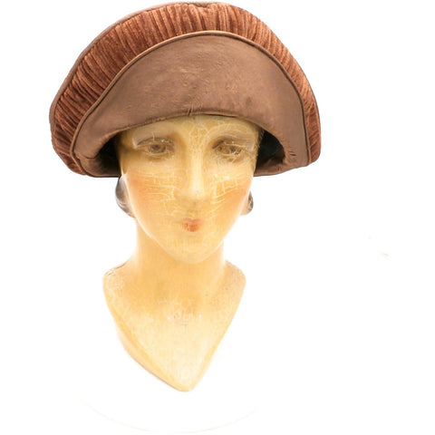 Antique 1920s CLoche Hat Copper Colored Silk Velvet & Taffeta Large