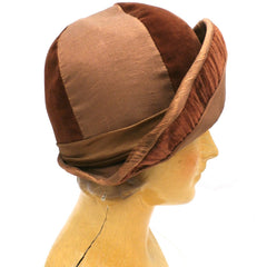 Antique 1920s CLoche Hat Copper Colored Silk Velvet & Taffeta Large - The Best Vintage Clothing  - 2