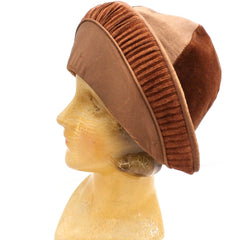 Antique 1920s CLoche Hat Copper Colored Silk Velvet & Taffeta Large - The Best Vintage Clothing  - 4